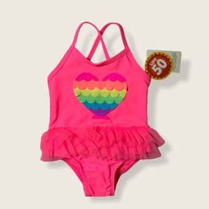 ⭐️2/$28 George Coral Rainbow Heart One SwimSuit